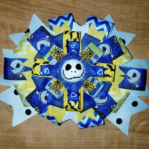 Other - Handmade blue and yellow Jack Skellington hair bow